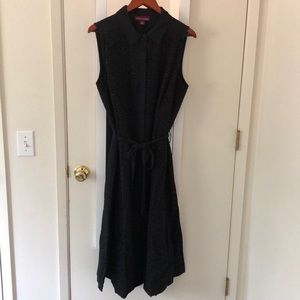 NWT Black Eyelet Midi Shirt Dress Size 18
